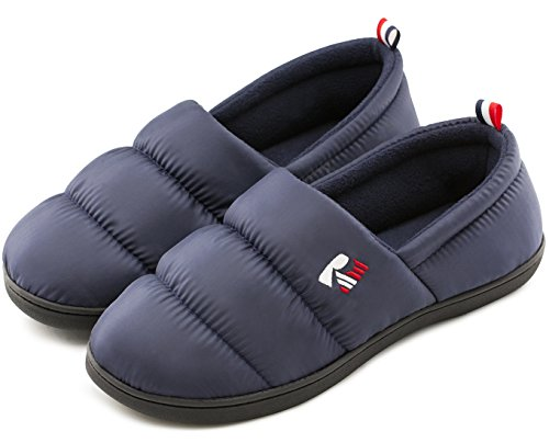 RockDove Men's Closed Back Down Camper Memory Foam Indoor Outdoor Slipper, Size 9-10 US Men, Navy Blue