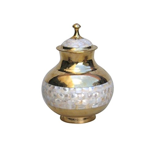 - Brass Urn, Screw On Top, Mother of Pearl - Nautical Decor