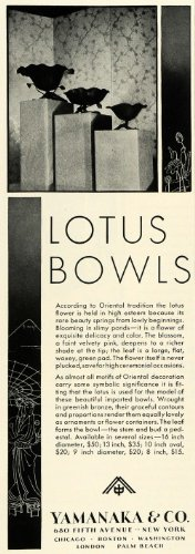 1931 Ad Yamanaka Decorative Lotus Flower Bowls Oriental Vases Household Decor - Original Print Ad from PeriodPaper LLC-Collectible Original Print Archive