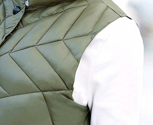 Green Down Army Slim Women's M amp;S Stylish amp;W Sleeveless Vest Stand Collar Long Pqz1z7En