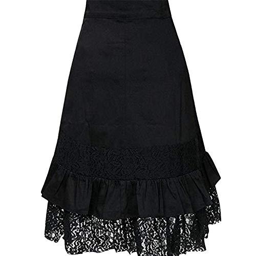 Dress des la Midi Boucles Casual Volant Punk Jolisson Noir Mode avec Jupe Style Dentelle Femme BWwH4R