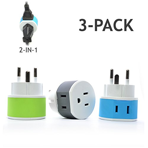 Denmark Power Plug Adapter by OREI with 2 USA Inputs - Travel 3 Pack - Type K (US-20) Safe...