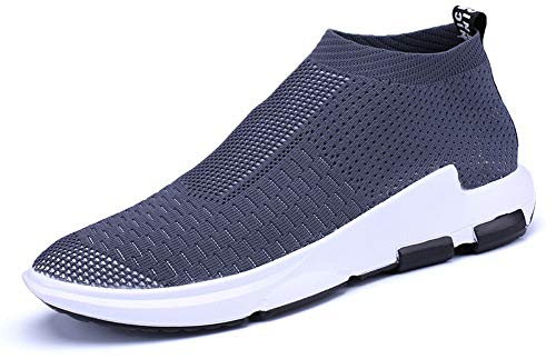 JIYE Men's Running Shoes Sock-Like Free Transform Flyknit Sport Fashion Sneakers, Gray,10US-Men