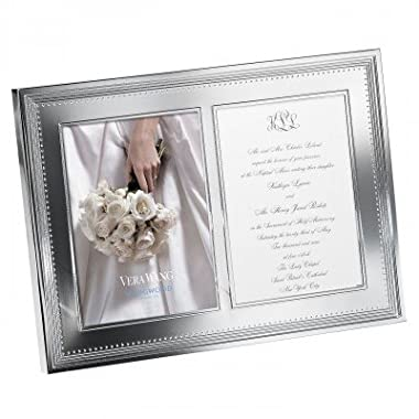 Vera Wang Wedgwood Grosgrain 5 X 7 Double Silver Picture Frame