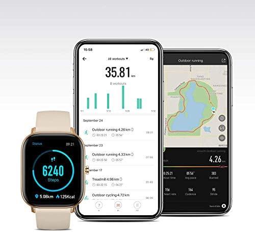 Amazfit GTS Reloj inteligente de cuerpo de metal delgado, notificaciones inteligentes, seguimiento de actividad, duración de la batería de 14 días, resistencia al agua, GTS, 1.65, Dorado Desierto 9