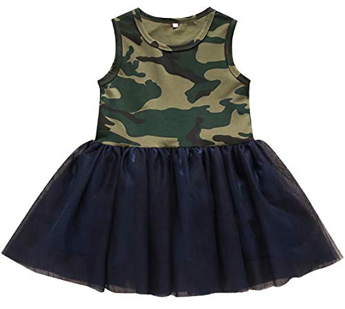 KIDDAD Toddler Baby Girls Camouflage Print Sleeveless Solid Color Princess Camo Lace Patchwork Tutu Tulle Dress Size 12-18 Months/Tag90 (Green)