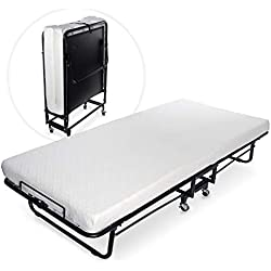 Milliard Premium Folding Bed with Luxurious Memory Foam Mattress – Perfect Guest Bed Featuring a Super Strong Sturdy Frame - Cot Size