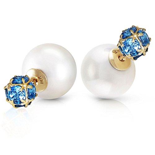 ALARRI 14K Solid Gold Tribal Double Shell Pearls And Blue Topaz Stud Earrings Blue Topaz Shell Earrings