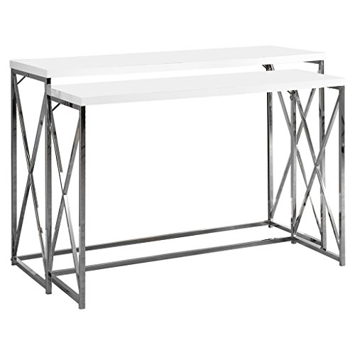 Monarch Specialties 2-Piece Metal Console Table Set, 46-Inch, Glossy White/Chrome