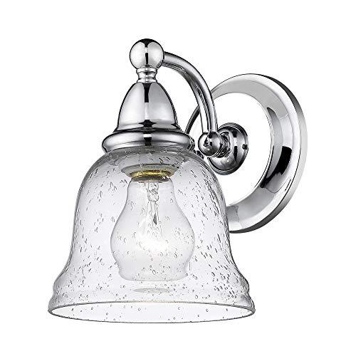 Sirét Lighting ST1096-CH Harris 1-Light Chrome Seedy Glass Shade Bath Sconce,