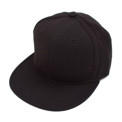 Decky Men's Fitted Baseball Hat Cap Flat Bill Blank-7 5/8-Black - Black Flat Fitted Baseball Cap