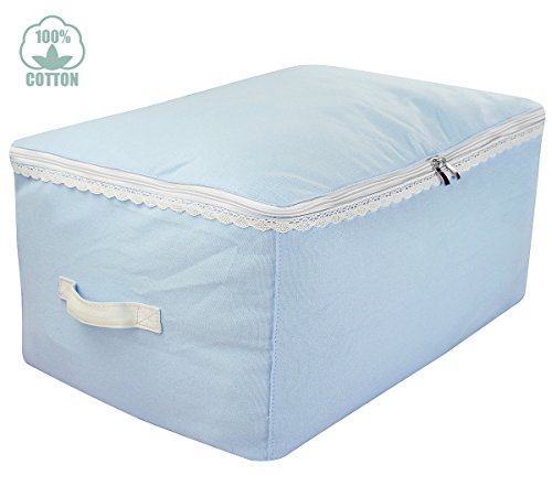 Canvas Storage Bags for Nursery & Kid's Room Decor, Toys Organizer Cubes Bags with Lace Trim, Three-side Zippers, Ideal for Baby's Clothes, Sweaters, Comforters, Blankets Storage, Baby Blue