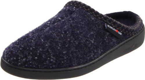 Haflinger Unisex AT Classic Hardsole Boiled Wool Hard Sole Slipper, Navy Speckle, 42 EU/ 11 M US Women's/9 D US Men (Mens Boiled Slippers)