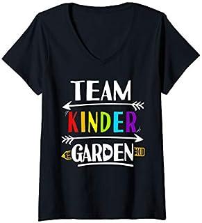 Womens Funny Team Kindergarten Back to School Student Teacher  V-Neck T-shirt | Size S - 5XL