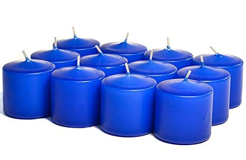 Unscented No Fragrance Royal Blue Votive Candles For Wedding/Dinner, Holiday Event, Home Decoration, 10 Hour, 1.5 in. diameter x 1.25 in. tall, 12 per box
