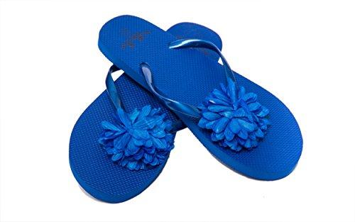 Las señoras grandes playa bolso / bolso de mano de diseño Floral con flores Flip Flop / sandalia (Negro(EU 36-37)) Azul(EU 36-37)
