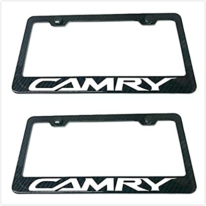 1 Lavnox Carbon Fiber Metal Camry License Plate Frame Tag Cover Holder Mount for Toyota Camry