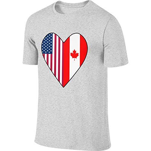 Good4Yours Half Canada Flag Half USA Flag Love Heart Men's Short Sleeve T-Shirt Athletic Casual Tee Shirts for Men T Shirt