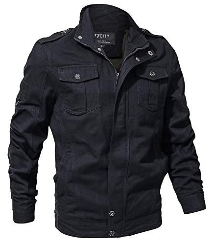 Da Bomber Coat Libero Classico In Tempo A 1 Maniche schwarz Uomo Stile Lunghe Cotone Autunno Giacca OqdTO