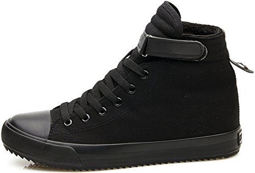 SATUKI Canvas Shoes For Men,Casual High Top Classic Lace Up Soft Athletic Flat Lightweight Fashion Sneakers Black