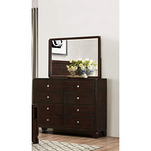 LYKE Home Phylis Merlot 8-Drawer Dresser and Mirror Set