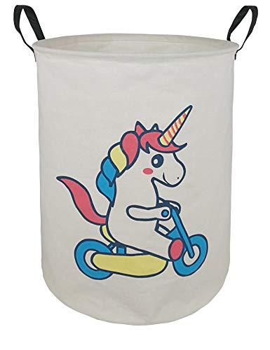 KUNRO Large Sized Round Storage Basket Waterproof Coating Organizer Bin Laundry Hamper for Nursery Clothes Toys (Balance car Unicorn)