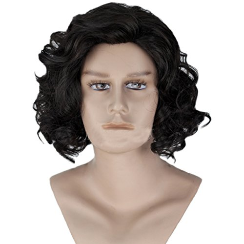 Game Of Thrones Costumes Designer (Angelaicos Men's Curly Fluffy Cool Nautral Looking Party Halloween Cosplay Costume Wigs Short Black)