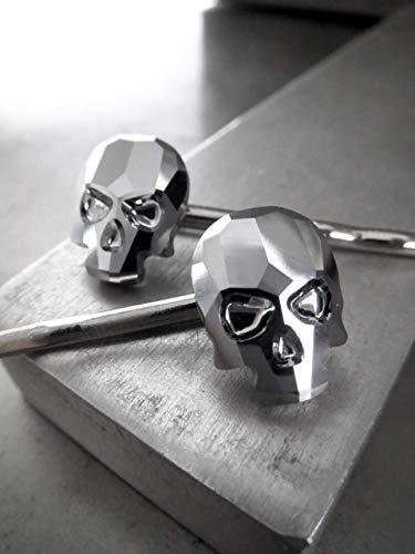 Skull Bobby Pins with Swarovski Crystal in Metallic Chrome - Set of 2 - Gothic Halloween Jewelry -
