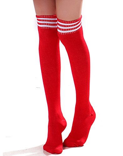 HDE Women Three Stripe Over Knee High Socks Extra Long Athletic Sport Tube Socks (Red/White) -