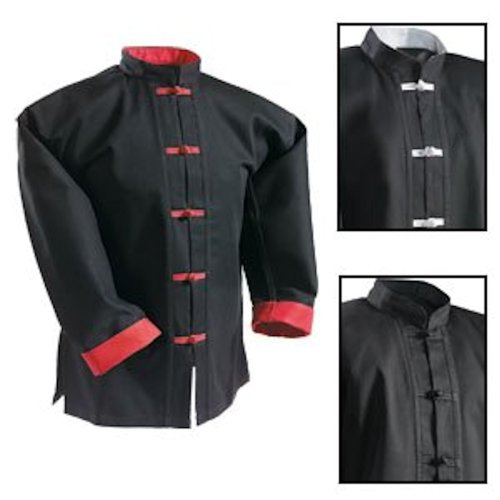Century Kung Fu Top Separate Black with Red Frogs Size ()