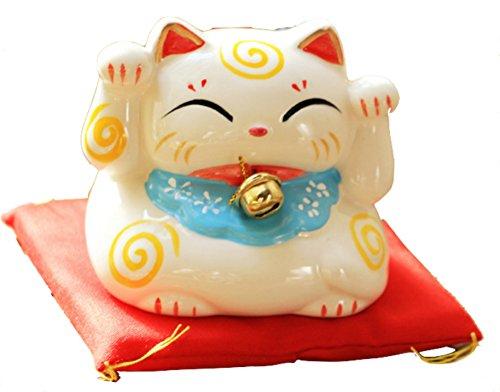 SUKRAGRAHA Lucky Cute Japanese Maneki Neko Beckoning Cat Car Interior Home Decoration Accessories w Cushion White
