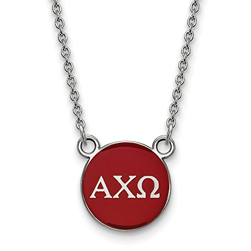 Solid 925 Sterling Silver Alpha Chi Omega Extra Small Enl Pendant with Necklace (12mm)