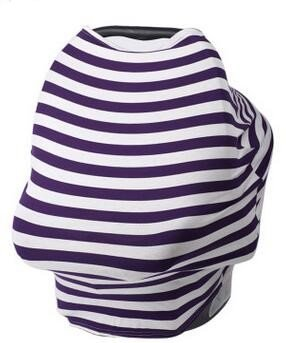 Encore Buy 5-in-1 Breastfeeding Cover, Baby Car Seat Covers, Car Seat Covers for Babies, Breastfeeding Cover Ups, Infant Car Seat Canopy, Breastfeeding Nursing Cover (Purple/White Large Stripe)
