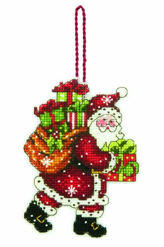 (Dimensions Counted Cross Stitch Santa with Bag Christmas Ornament Kit, 3.5'' W x 4.5'' H)