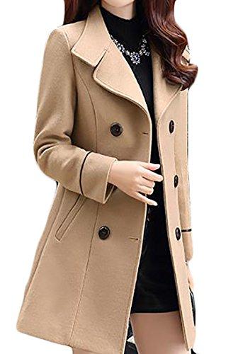 JWK Women's Double-breasted Slim Solid Wool-Blend Winter Pea Coats Khaki - Coats Petite Womens Winter