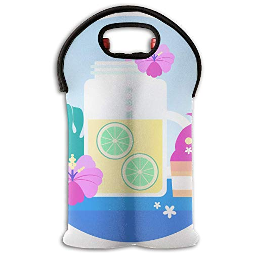 Ice Cream Design 2 Bottle Wine Tote Carrier Bag Portable Insulated Polyester Beer Hand Bag for Travel,Picnic,Party