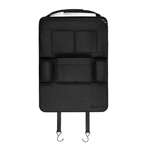 Salcar - Autositz Schutzfolie Tasche 3mm Filz Auto Organizer Utensilientasche mit iPod, Notebook, Kindle, iPhone,Getränke, DVD,Gewebe Sitzschoner mit 8 Taschen, Rückenlehnentasche Auto - Schwarz