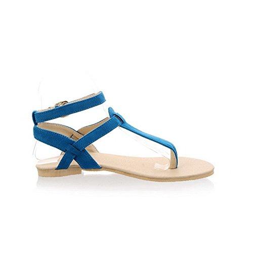 AalarDom Mujer Puntera Dividida Mini Tacón Sólido Hebilla Sandalias de vestir Azul