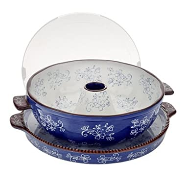 Temp-tations Floral Lace Fluted Tube Pan W/serving Tray, Blue