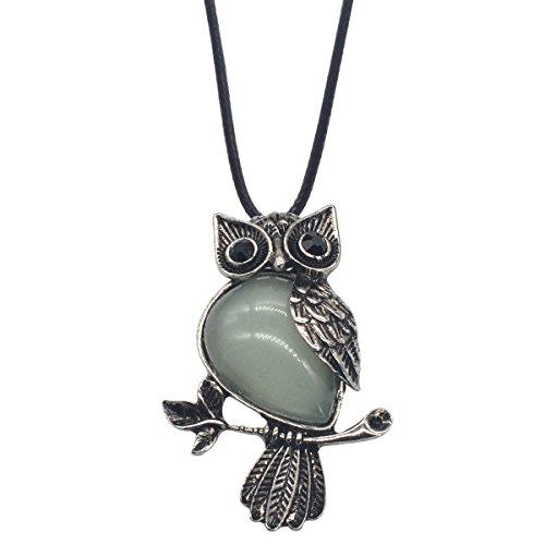 ZHEPIN Owl Necklace Green Healing Pendant Nekclace for Women Men Spiritual Energy Gemstone Necklace - 19 inches