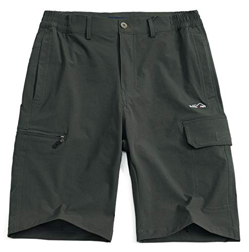 svacuam Men's Outdoor Sports Shorts with Zipper Pockets Quick Dry Hiking Shorts(Army Green,34)