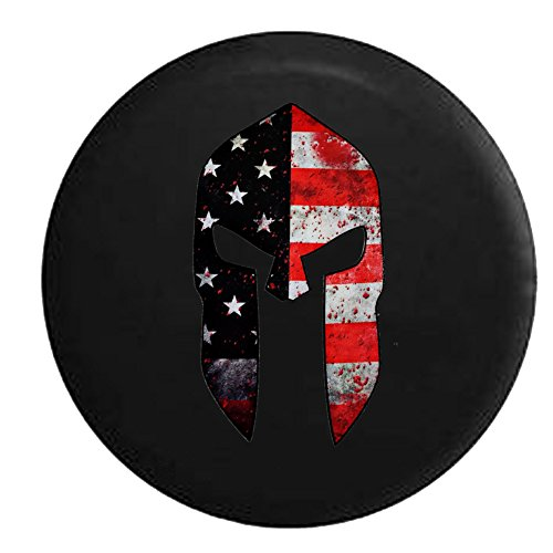 Battle Worn Molon Labe Warrior American Flag Helmet Spare Jeep Wrangler Camper SUV Tire Cover 33 in
