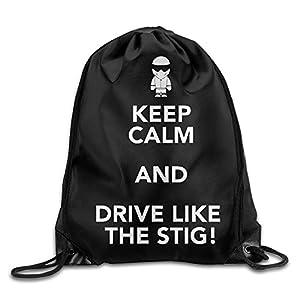 MaNeg Keep Calm And Drive Like The Stig Gym Drawstring Backpack&Travel Bag