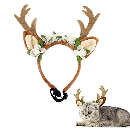 Kathson Dog Headband Costume with Flowers Holiday Christmas Reindeer Antlers Ears Wearable for Small/Medium/Large Dogs - Dog Accessory