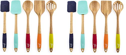 Fiesta Bamboo 5 Piece Silicone Utensil Set (Pack of 2)