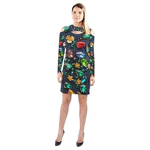 InterestPrint Women's T-shirt Casual Dress Custom Sparkling rhinestones Cold Shoulder Long Sleeve Dress (Model D37)