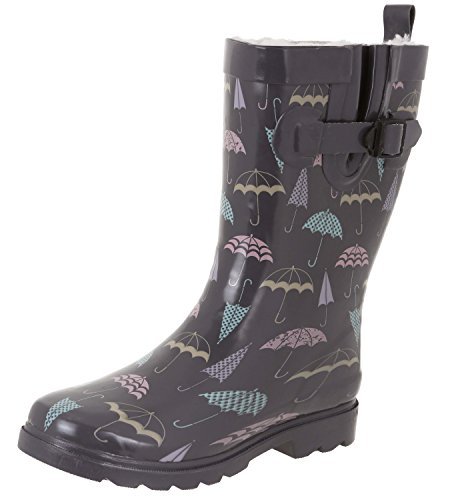 Rain Mid Grey Collegiate Ladies Boots Printed York Combo Capelli Calf Plaid New xwvY8vq1