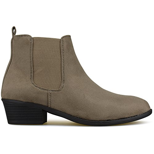 Ankle Panel Women's Bootie Taupe Elastic Premier Standard Side IaXqXO
