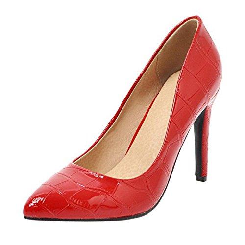 TAOFFEN Women's Fashion Party Pumps Court Shoes Heels Red-35 ecWDmvtRv