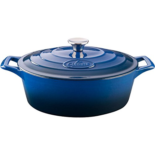 La Cuisine PRO 6.75 Qt Enameled Cast Iron Covered Oval Dutch Oven,  Blue